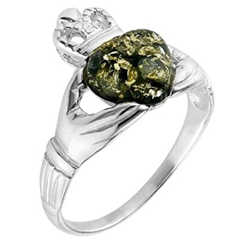Grüner Bernstein, Sterling-Silber 925 Claddagh Ring, Größen: J, L, N, P, Q, S, T, V