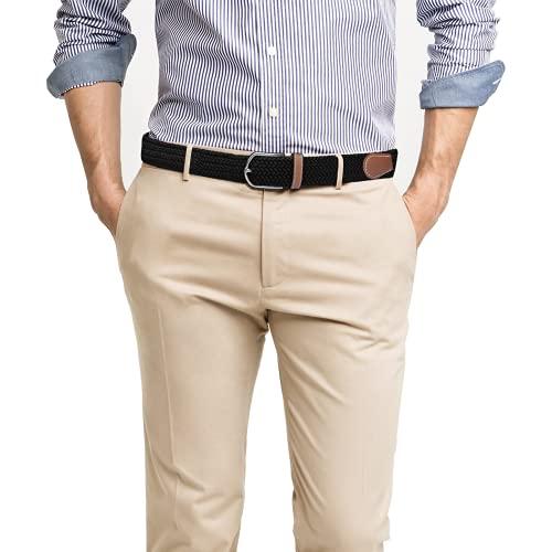 SWAUSWAUK Cinturón Elástico para Hombres y Mujeres - Cinturón Elástico Cómodo Trenzado Unisex para Jeans Pantalones Cortos Pantalones Casuales de Negocios (Negro)