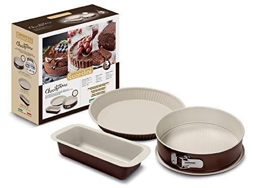 Guardini Coffret cadeau Chocoforme : Moule démontable 26 cm + moule à tarte 28 cm + moule à cake 25 cm, acier avec revêtement anti-adhérent, couleur crème-chocolat
