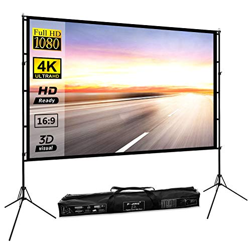 Projector Screen with Stand 100inch Portable Projection Screen 16:9 4K HD Rear Front Projections Movies Screen for Indoor Outdoor Home...