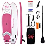 SEASEESUP Inflatable Stand Up Paddle Board for Adults Youth and Kids, 10'6' Blow Up Boards Surfboard with SUP Accessories Adj Paddle, ISUP Backpack, Pump, Leash for All Levels of Surfing, Pink