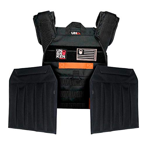 Unbrokenshop.com Weight Vest - with Sand Plates (Combo) - Chaleco Colette Ergonomic for Exercises (Strong & Durable) - Designed for Weight Lifting, Running & Fitness (Black) - 2 Patches Included