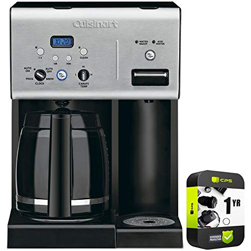 Cuisinart CHW-12 Coffee Plus 12-Cup Programmable Coffeemaker with Hot Water System Black Bundle with 1 Year Extended Protection Plan