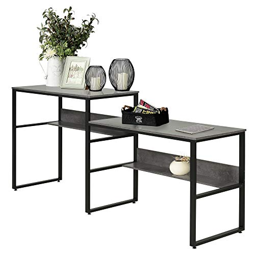 HOMCOM Industrial Style Double Sided Computer Desk with Strong Steel...