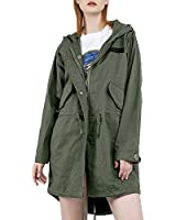 YADOONSY Women's Vintage M51 Trench Coat Zip-up Windproof Fish Tail Coat (S)