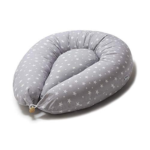 Nafarm Stillkissen 180 cm XXL groß + extra Kissen klein, Schwangerschaftskissen für Schwangerschaft zum Schlafen Seitenschläferkissen Lagerungskissen für Schwangere Mama, mit Bezug 100% Baumwolle