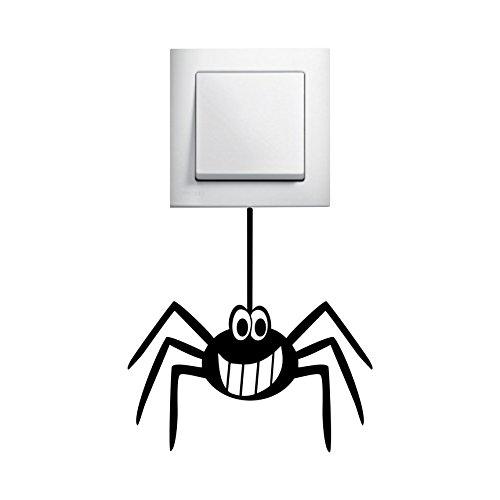 Folistick Spinne Aufkleber Lichtschalter Steckdose Funny Spider Wandtattoo (SCHWARZ)