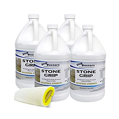 Stone Grip Industrial Non-Slip Floor Treatment to Prevent Slippery Tile/Stone Floors. Indoor/Outdoor, Residential/Commercial, Works in Minutes for Increased Traction. Available in Quart or Gallon.