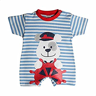 Papillon Front Stitched Bear Striped Romper for Boys