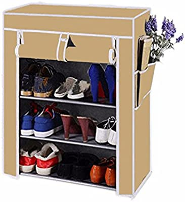 Biaba Collection High Quality Four Layer Cream Shoe Rack/Shoe Shelf/Shoe Cabinet, Easy Installation Stand for Shoes(Color As Per Availability)