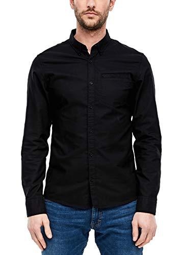 Q/S designed by Herren Extra Slim: Hemd in Unicolor Black M
