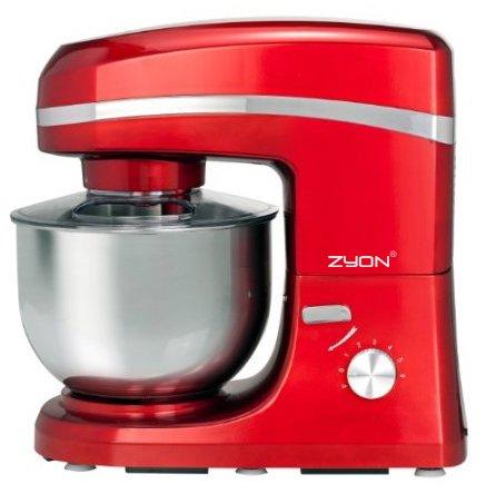 Zyon Rote elektrische Küchenmaschine, 1.000 W, mit Spritzschutz und 5,2-Liter-Schüssel, INKLUSIVE Rührhaken, Rührbesen und Teighaken