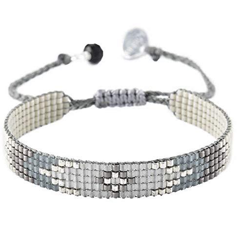 Mishky Beaded Bracelet with Adjustable Macramé Closure (Peeky Grey)