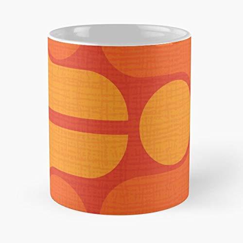 MCM Mid Orange Yellow Barkcloth Retro 1960 Pattern Century Best Mug hält Hand 11oz aus weißer Marmorkeramik