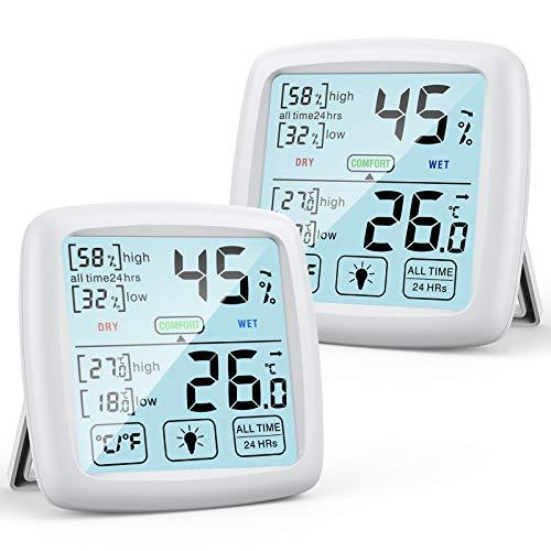 NIXIUKOL Hygrometer Innen Thermometer Digital Raumthermometer mit hohen Genauigkeit, Komfortanzeige, Luftfeuchtigkeitsmessgerät, Thermo-Hygrometer für Zuhause, Babyraum, Wohnzimmer, Weiß, 2 Stück