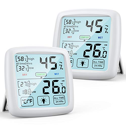 NIXIUKOL Higrometro Digital Termometro Casa Interior Medidor Humedad Termohigrometro con Pantalla Táctil Grande, Indicador de Comodidad, Termometro Ambiental para Oficina Habitación de Bebé, 2 piezas