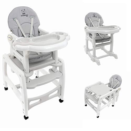 KINDEREO 5 in1 Multi Kinderhochstuhl Stuhl Kombihochstuhl Tisch Baby Hochstuhl Schaukel (Grau)