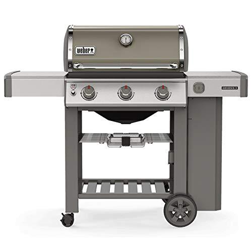 pas cher un bon Barbecue à gaz Weber Genesis 2E-310 gris fumée avec plancher