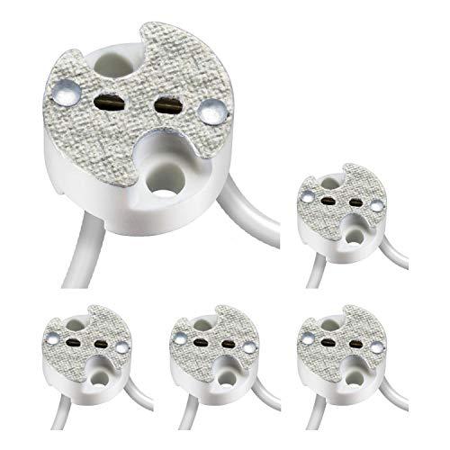 parlat Universal-Fassung aus Keramik für G4, GU5.3, GY6.35 Niedervolt Sockel 12V max. 25W, 5 Stk.