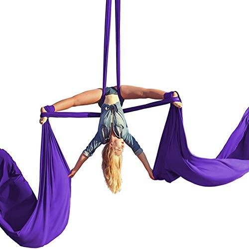 ZKLNO Juego De Hamaca De Yoga Aérea Sala De Yoga Interior para El Hogar Danza De Gran Altitud Tela De Satén Equipo De Baile Giratorio De Satén Yoga Antigravedad Columpio Pilates,Púrpura
