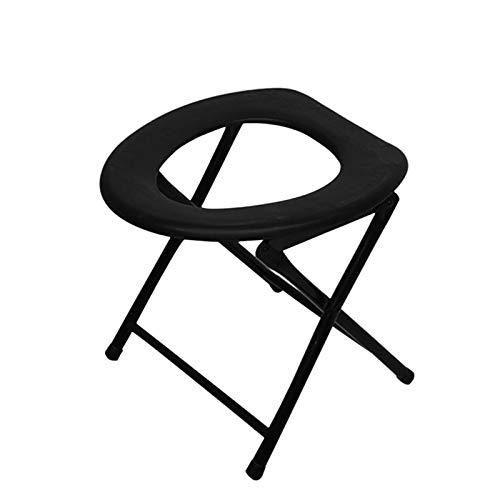 LXD Portable Renforcement Pliable Toilette Chaise,Voyage Camping Escalade Pêche Camarade Chaise,Extérieur Activité Accessoires A/Noir/Comme montré