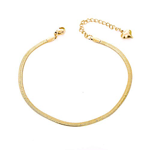 QJLE 18K Gold Plated Flat Snake Chain Link Dainty Ankle Bracelets for Women, Boho Cute Summer Beach Anklet Adjustable Foot Jewelry