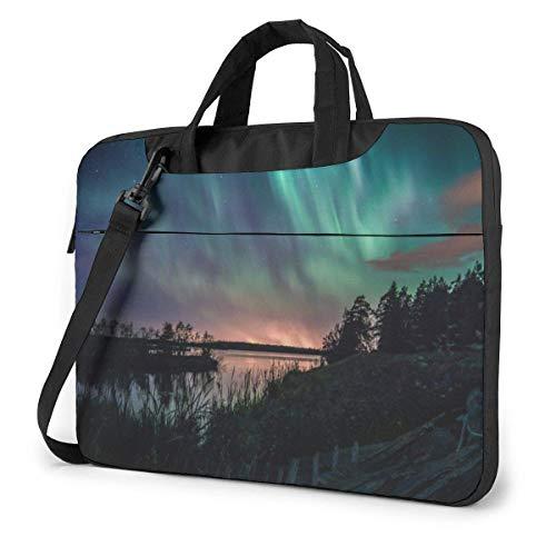 DJNGN Laptop Shoulder Bag Laptop Case 13 Inch, Intense Aurora Computer Sleeve Cover with Handle, Business Briefcase Protective Bag