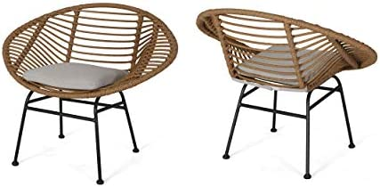 Best Christopher Knight Home Aleah Indoor Woven Faux Rattan Chairs with Cushions (Set of 2), Light Brown