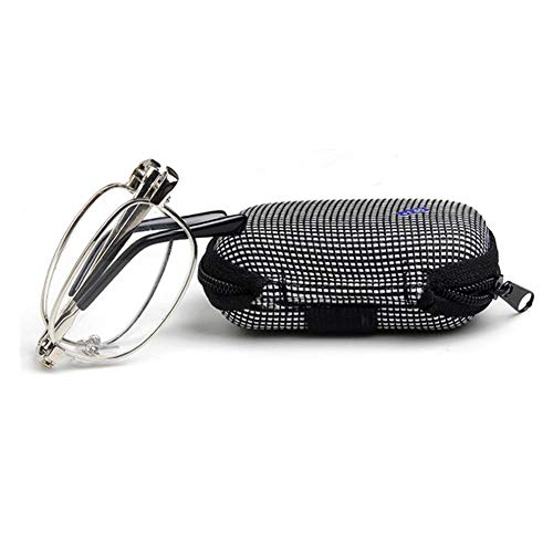 YUNCAT Damen Herren Lesebrille Brille kompakt faltbar klappbar + Brillen-Etui - M118-1,0-1,5-2,0-2,5-3,0 Silber