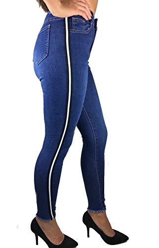 Worldclassca Damen Skinny Jeans MIT Seitenstreifen RÖHRENJEANS Denim Streifen Hose Stretch Blogger Fashion Freizeithose Damenhose Party Hose MIT Tasche Stripe Pants Used Look 34-44 (XS (34), Blau)