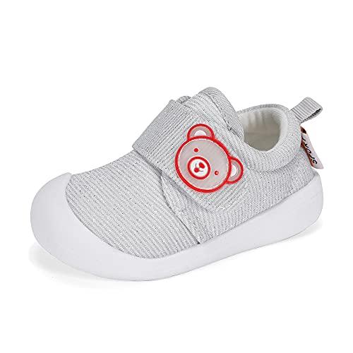Zapatos Bebe Niño Niña Primeros Pasos Zapatillas Deportivas Bebé Recién Nacido Gris Talla 19
