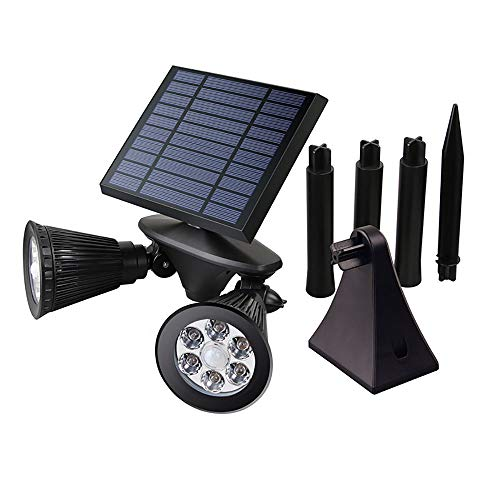 Lamp op zonne-energie voor buiten, LED, dubbele kop, projector, menselijk lichaam, muur, gazon, tuin, vloerlamp