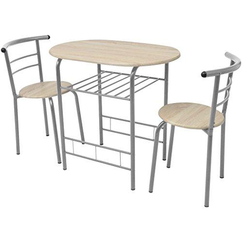 Festnight Bar-Set Frühstückstisch mit 2 Barstühle Bartisch Stehtisch aus MDF Eisenrahmen Essgruppe für Küche Esszimmer