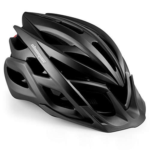 Shinmax Fahrradhelm mit StVZO LED Licht, Männer & Frauen Fahrradhelm Radrennen MTB Helm mit Sonnenschutzkappe Abnehmbarem Visier Superleichter Verstellbarer Fahrradhelm mit CE-Zertifikat.