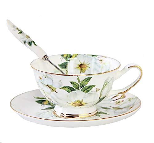 Set da tè vintage in porcellana pregiata Bone China, con cucchiaino, tazza da tè e piattino, con rifiniture dorate, per la decorazione della tavola White Camellia