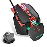 Ratón Gaming Programable 8 Botones Programables, 7 Modos de Iluminación RGB Personalizable, 3200 dpi (4 Niveles) Ratones USB para PC, Laptop, MacBook,Negro