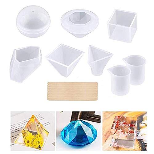 Moldes de resina de silicona. 18 PCS. Juego de moldes de fundición de DIY. Incluye 6 moldes de silicona de varias formas. 2 tazas de medida. 10 palos de madera. Para Resina Epoxi, Cera de Velas, Jabón