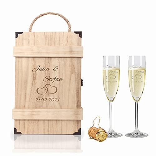 2 Leonardo Sektgläser mit Geschenkbox und Gravur Paar Hochzeit Geschenkidee Sektglas-Set graviert