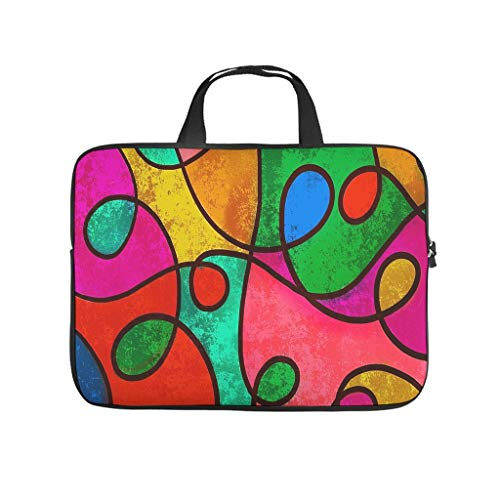 Colourful stained glass art laptop bag, waterproof laptop protective case, customised notebook bag for university, work, business