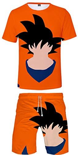 Silver Basic Dragon Ball Z Camiseta y Pantalones Chándal para Hombre y Niño Goku Top Chándal de Ropa Deportiva Dragon Ball Pijamas L,Naranja-6