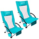KingCamp Camping High Back Beach Chair Concert Folding Chair, Cyan (KC1912_Cyan_USVC)