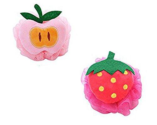 Da.Wa - Lot de 2 éponges de bain en forme de fruit - Louffa - Couleur aléatoire