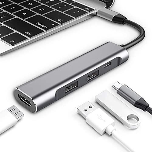 Xflelectronic Adaptador multipuerto USB C Hub, USB Tipo C a HDMI Concentrador multipuerto AV Digital con Salida HDMI 4K, 1 Puerto USB 3.0, 1 Puerto USB 2.0, para Dispositivos Tipo C