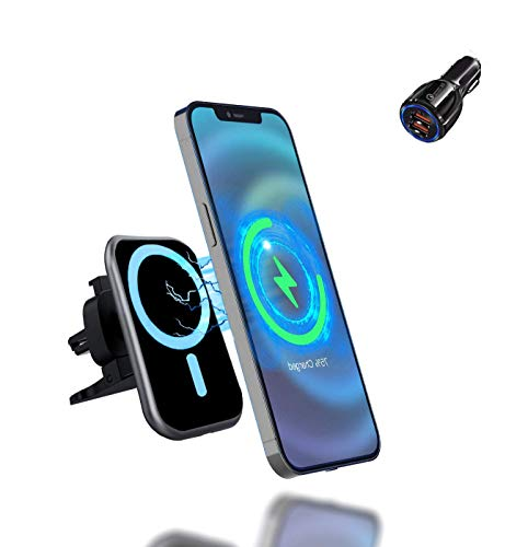 HTMZ Magnetic Wireless Car Charger,15W Qi Fast Charging Air Vent Phone Holder 360° Rotation Car Phone Mount Compatible with iPhone 12/12 Mini/12 Pro/12 Pro Max