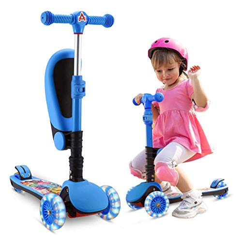 AOODIL 2-in-1 Kick Scooter for Kids, 3 Wheel Scooter with Folding/Removable Seat Adjustable Height...