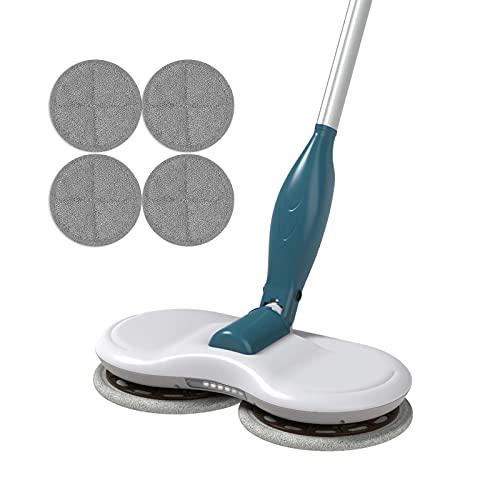 GOBOT Mopa eléctrica inalámbrica, pulidora e iluminación LED, limpiador de azulejos, limpiador de ventanas, fregona de cocina con 4 almohadillas de microfibra lavables.