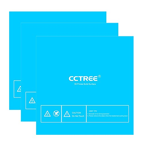 CCTREE 3D Printer Build Surface with 3M Sticker 3D Printer Heated Bed Sheet for TEVO Tornado Anet E12 Monoprice Maker Pro Mk.1 Creality CR-10 CR-10S 300x300mm (Pack of 3)