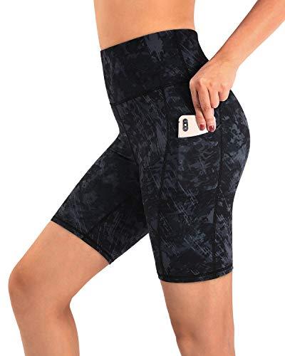 Promover Short de Yoga Taille Haute avec Poches pour Femme Pantalon Court de Course d'Entraînement Non Transparent Entrejambe de 8\