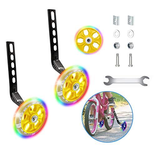 Happylohas ruedines Bicicleta Infantil, Entrenamiento ruedines niños con luz LED, Ruedas estabilizadoras, para Todas Las Bicicletas de 12 a 20 Pulgadas ((1 par-Amarillo))