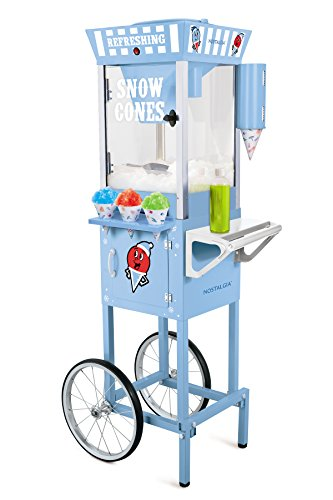 Nostalgia 54-Inch Tall Snow Cone Cart, Metal Scoop Makes 72 Icy Treats, Includes 2 Syrup Bottles, 100 Paper Cups/Spoons, Storage Compartment, Wheels For Easy Mobility – Blue